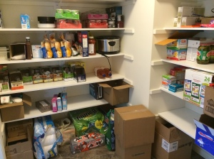 In-progress pantry.  You can see my efforts reflected in the empty spots!